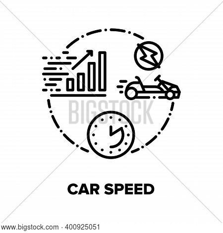 Car Speed Race Vector Icon Concept. Electrical Cart Sport Racing And Driving Competition On Racetrac
