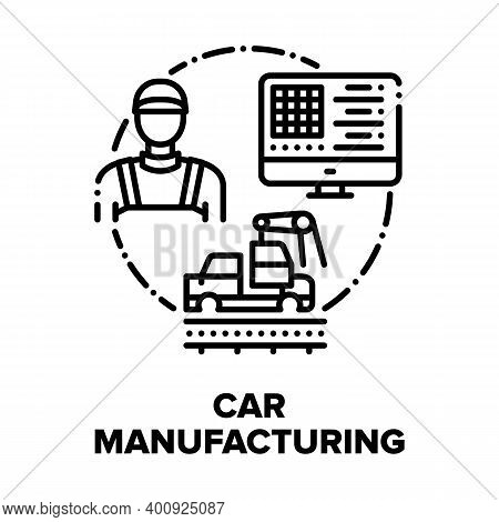 Car Manufacturing Factory Vector Icon Concept. Car Production Plant Conveyor And Computer Technology