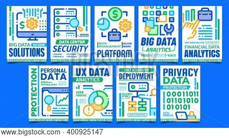 Data Scientist Creative Promo Posters Set Vector. Big Data Solutions And Analytics, Server Deploymen