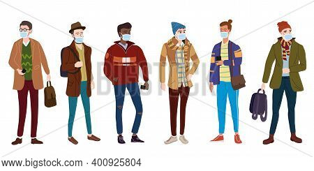 Crowd Young Mans Students In Modern Autumn Trendy Clothes. In Medical Mask, Individual Protection Fr