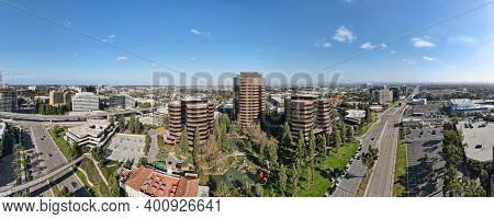 Aerial Panoramic View Of University City Large Residential And Commercial District Next To The Unive
