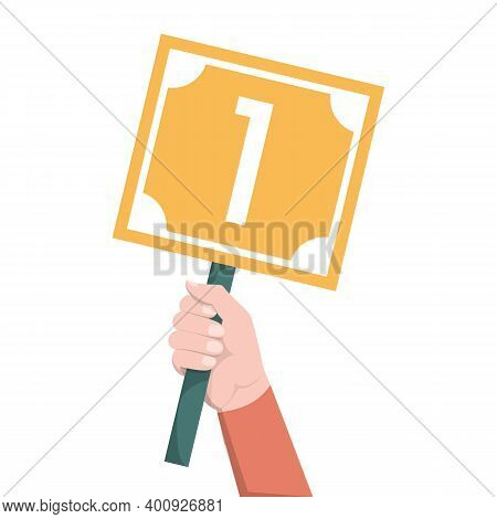 Hand Holding Scorecard With Number 1 Vector Isolated