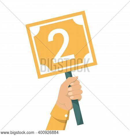 Hand Holding Scorecard With Number 2 Vector Isolated