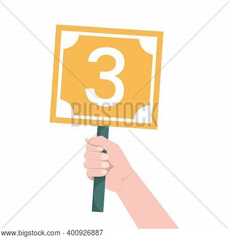 Hand Holding Scorecard With Number 3 Vector Isolated