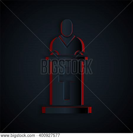 Paper Cut Church Pastor Preaching Icon Isolated On Black Background. Paper Art Style. Vector Illustr