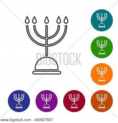 Black Line Hanukkah Menorah Icon Isolated On White Background. Hanukkah Traditional Symbol. Holiday
