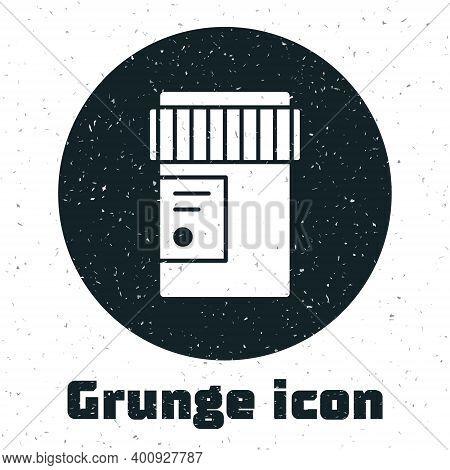 Grunge Medical Bottle With Marijuana Or Cannabis Leaf Icon Isolated On White Background. Mock Up Of