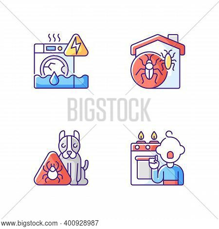 Unsafe Home Situations Rgb Color Icons Set. Household Appliances Malfunction. Insect Invasion. Pet H