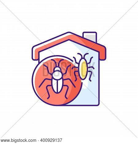 Insect Invasion Rgb Color Icon. Bugs Indoors. Cockroaches And Beetles, Crickets And Fleas. Bed Bug I