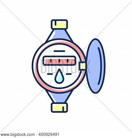 Water Meter Rgb Color Icon. Measuring Liquid Volume. Residential And Commercial Building Units. Flow