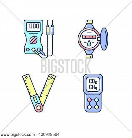 Measurement Tools Rgb Color Icons Set. Ammeter. Water Meter. Ruler, Angle Finder. Gas Detector. Volt