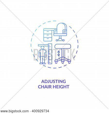 Adjusting Chair Height Concept Icon. Office Ergonomics Tip Idea Thin Line Illustration. Comfortable