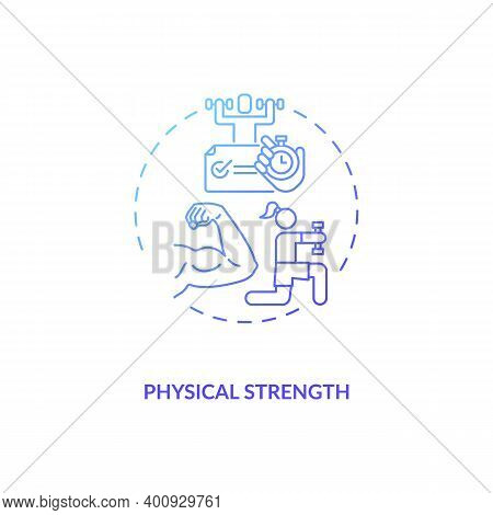 Physical Strength Concept Icon. Human Factor In Ergonomics Idea Thin Line Illustration. Physical Act