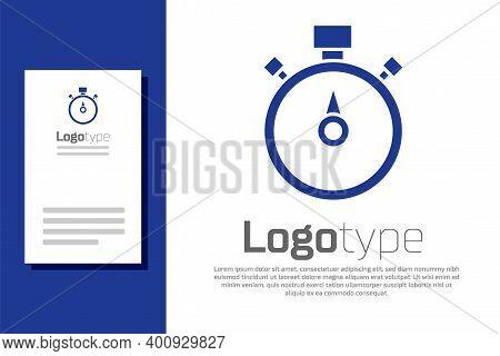 Blue Stopwatch Icon Isolated On White Background. Time Timer Sign. Chronometer Sign. Logo Design Tem