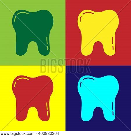 Pop Art Tooth Icon Isolated On Color Background. Tooth Symbol For Dentistry Clinic Or Dentist Medica