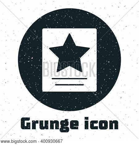 Grunge Hollywood Walk Of Fame Star On Celebrity Boulevard Icon Isolated On White Background. Famous