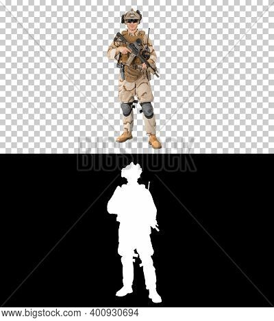 Soldier Standing And Talking To You, Alpha Channel With Silhouet