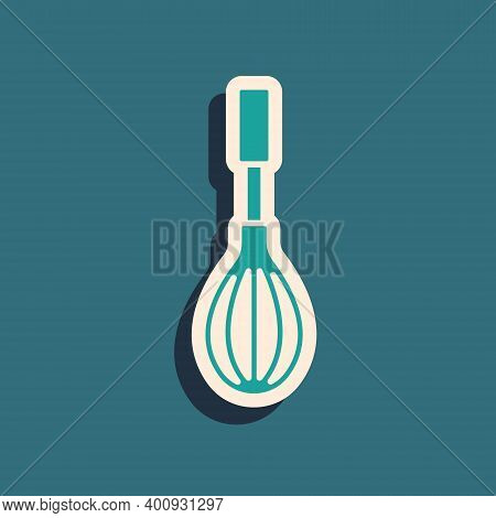 Green Kitchen Whisk Icon Isolated On Green Background. Cooking Utensil, Egg Beater. Cutlery Sign. Fo