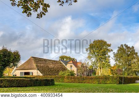 Windesheim, Netherlands - November 3, 2019: Traditional Dutch Farm House In Windeshiem Near Zwolle,