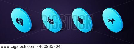 Set Isometric Dog Pooping, Cat, And Medical Veterinary Record Folder Icon. Vector
