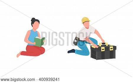 Professional Babysitter And Handyman Flat Color Vector Faceless Character Set. Nanny, Contractor Job