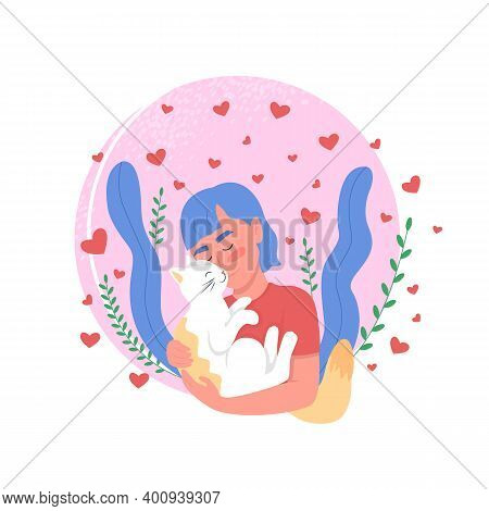Pet Owner Affection To Cat Flat Concept Vector Illustration. Woman Bonding With Domestic Animal. Hap