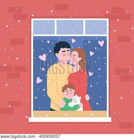 Happy Caucasian Family In Home Window Flat Color Vector Illustration. Dad, Mom Hugging Kid. Spending