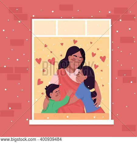 Happy Indian Family In Home Window Flat Color Vector Illustration. Spending Winter Holiday Together