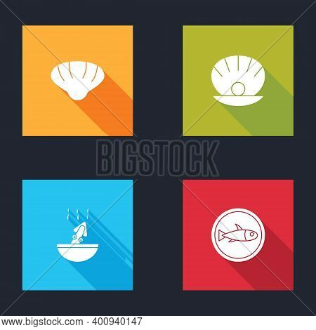Set Scallop Sea Shell, Shell With Pearl, Soup Octopus And Served Fish On Plate Icon. Vector