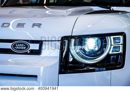 Rostov-on-don, Russia - 7 December 2020: Land Rover Defender Headlights