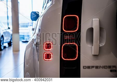 Rostov-on-don, Russia - 7 December 2020: Land Rover Defender Rear Lights