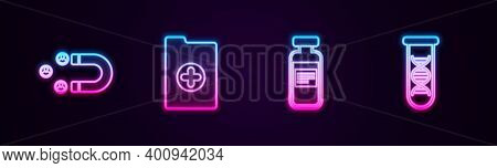 Set Line Customer Attracting, Clinical Record, Medical Vial, Ampoule And Dna Research, Search. Glowi