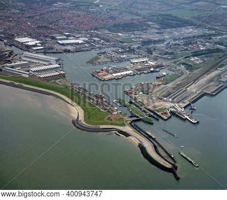 Vlissingen,Holland, October 11 - 1986: Historical aerial photo of the harbour of Vlissingen in the province Zeeland