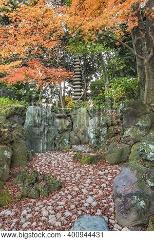 Tokyo Metropolitan Park Kyufurukawa's Japanese Garden's  Dry Waterfall And Fifteen Stories Pagoda Ov