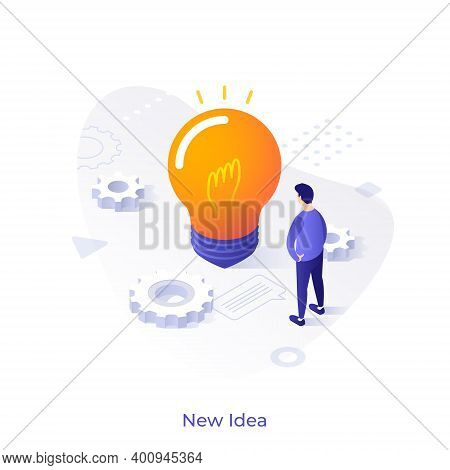 Man Standing In Front Of Glowing Lightbulb And Looking At It. Concept Of Innovation, Creativity, Cre
