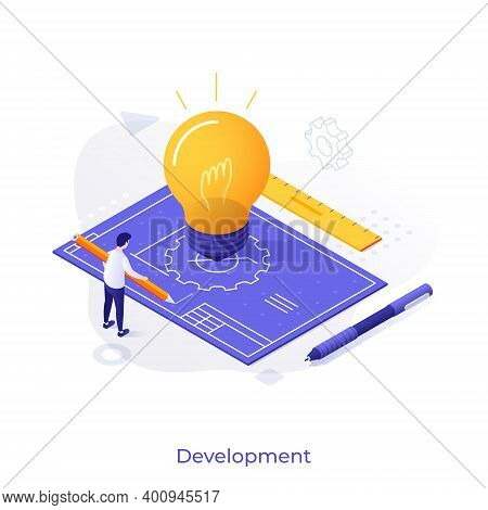 Man With Pencil, Blueprint Or Technical Drawing And Glowing Lightbulb. Concept Of Project Developmen