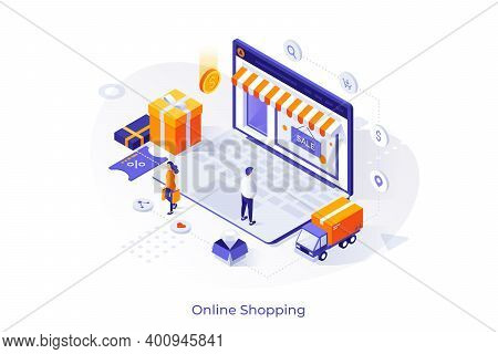 Customers And Giant Laptop Computer With Web Store Front On Screen. Concept Of Electronic Shopping,