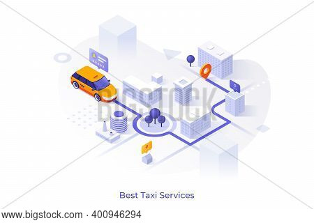 Car Riding On City Map With Streets And Buildings, Departure And Arrival Points, Route Indication, P