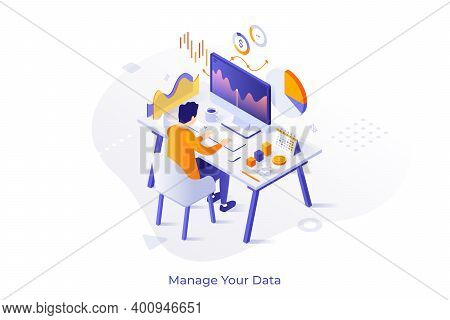 Concept With Man Or Analyst Sitting At Computer And Monitoring Statistical Or Financial Market Indic