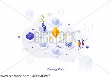 Concept With Man Working On Laptop Computer And Network Of Cubic Blocks. Cryptocurrency Mining Pool