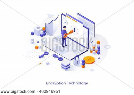 Concept With Laptop Computer And Man Opening Lock With Key. Internet Encryption, Access To Encrypted