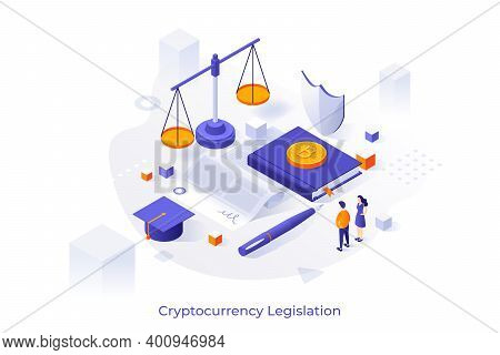 Concept Illustration With Giant Paper Agreement, Bitcoins, Scales Of Justice And Tiny People. Crypto