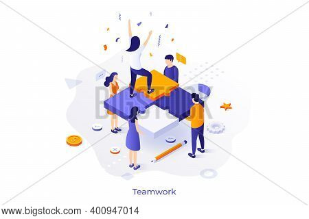 Conceptual Template With Group Of Office Workers Holding Jigsaw Puzzle Pieces And Woman Celebrating