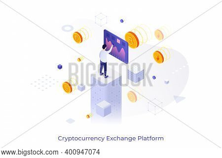 Conceptual Template With Man Touching Screen And Crypto Coins Around Him. Cryptocurrency Exchange Pl