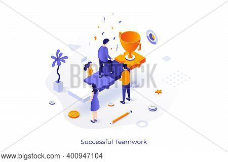 Conceptual Template With Group Of People Holding Man Ascending Stairs Made Of Jigsaw Puzzle Pieces A