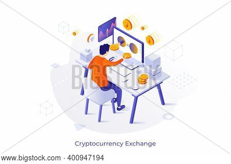 Conceptual Template With Man Sitting At Computer And Buying Bitcoin. Online Cryptocurrency Exchange