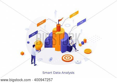 Conceptual Template With Man And Woman Analysts Analyzing Comparison Diagram. Future Of Data Analysi
