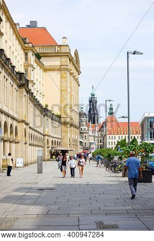 DRESDEN, GERMANY - July 23, 2017: Tourists on foot Graben Street Dresden, Germany