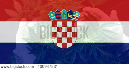 Weed Decriminalization In Croatia. Medical Cannabis In The Croatia. Leaf Of Cannabis Marijuana On Th