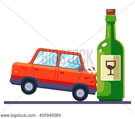 The Car Crashes Into A Bottle Of Alcohol. Drunk Driving On The Road. Flat Vector Illustration Isolat